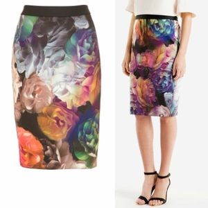 Ted Baker Vivid Floral Scubaknit Pencil Skirt